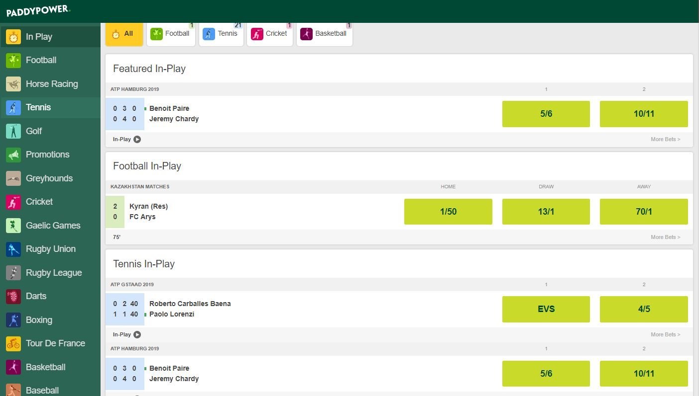 Paddy Power In-Play Betting