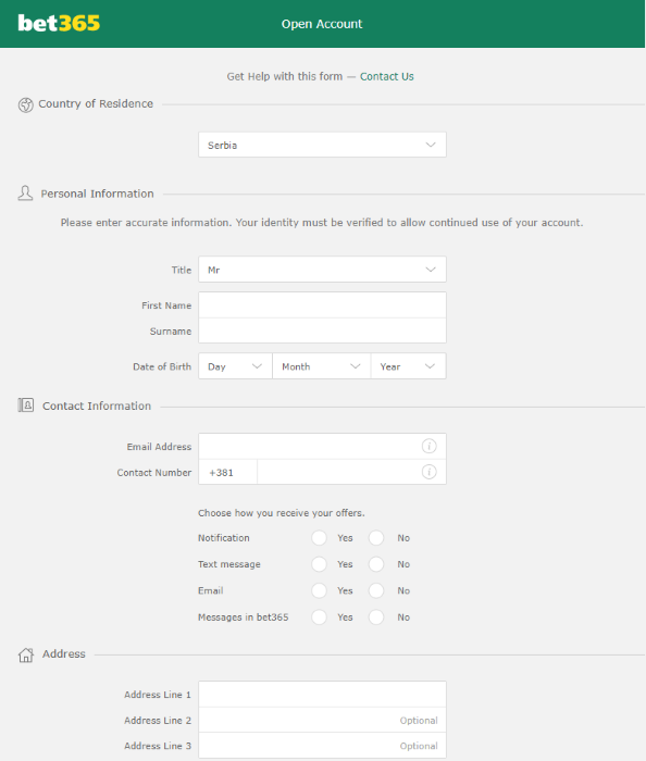 bet365 Registration Form