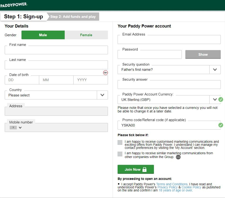 Paddy Power Registration Form